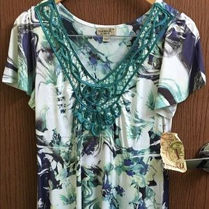 One World M green floral dress lace high low NWT